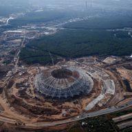 Стадион «Самара-Арена» с высоты птичьего полета. Этап строительства.