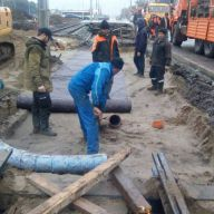 Укладка новых трамвайных путей к существующим на ул. Ташкентская