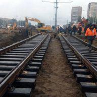 Завершение врезки новых трамвайных путей к существующим на ул. Ташкентская