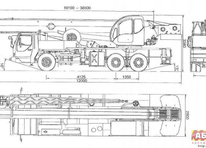 Схема крана XCMG QY25K5-I грузоподъемность 25 тонн